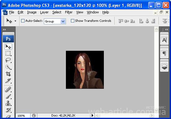 Загруженная в Фотошоп женская аватара 120х120