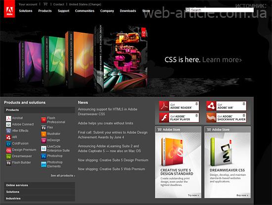 Дизайн сайта Adobe.com не тянется
