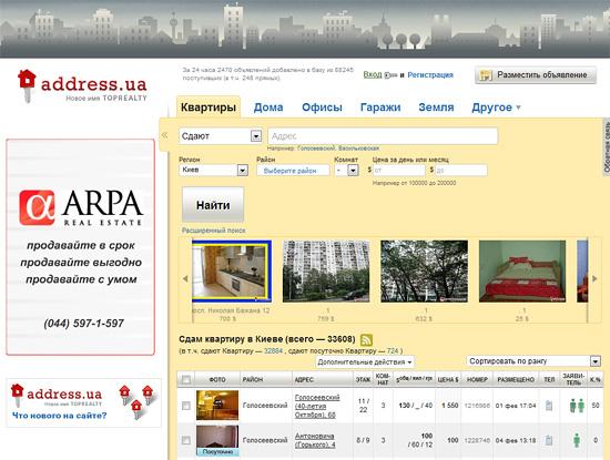 Пример качественного сайта о недвижимости в Киеве