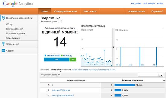 Пример статистики Google Analytics в реальном времени