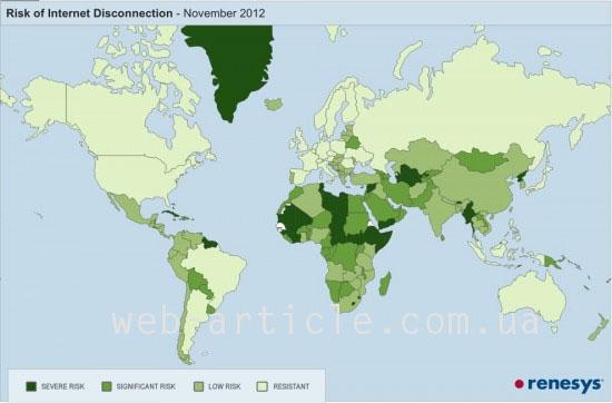 карта нажёжности интернета