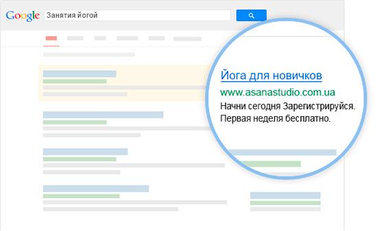 Пример контекстной рекламы Google