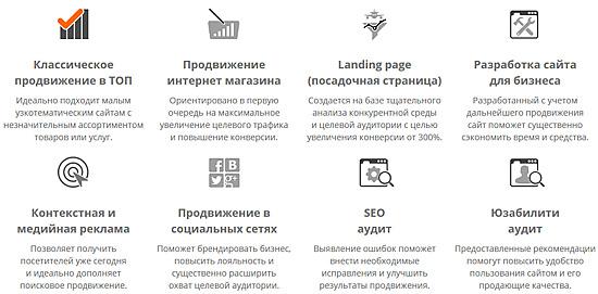 Типовые услуги поискового продвижения