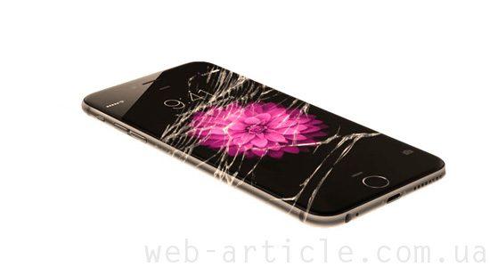 телефон с разбитым стеклом
