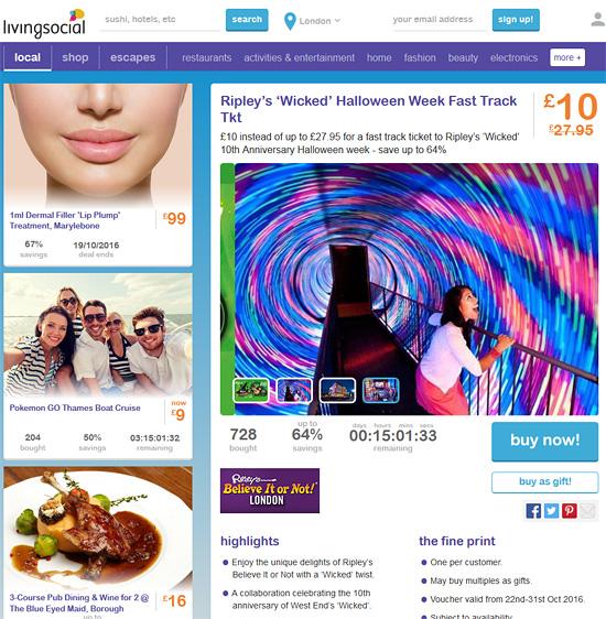 LivingSocial скриншот нового мобильного дизайна