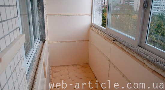 Пример внутреннего утепления балкона