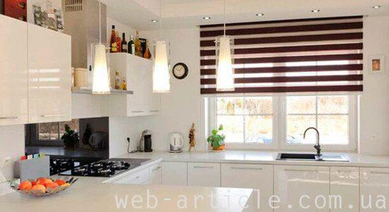 тканевые ролеты на кухне