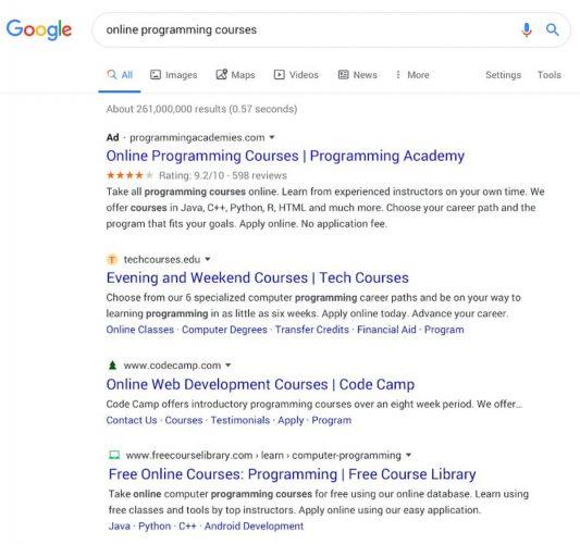макет поисковой выдачи в Гугл
